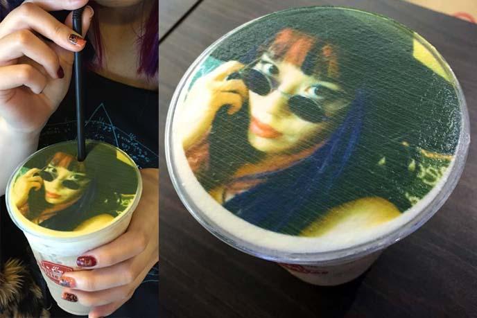 selfie portrait printed latte