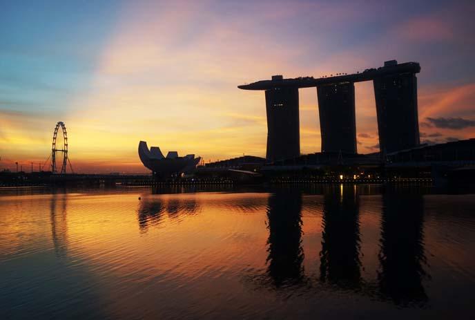 sunrise singapore landscape, marina bay sands waterfront