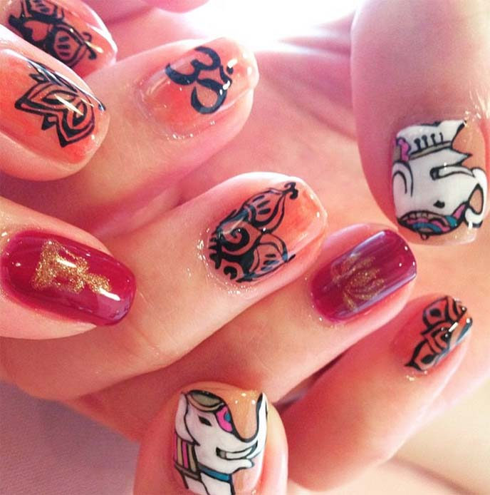 bali nail arts, om buddhist nails
