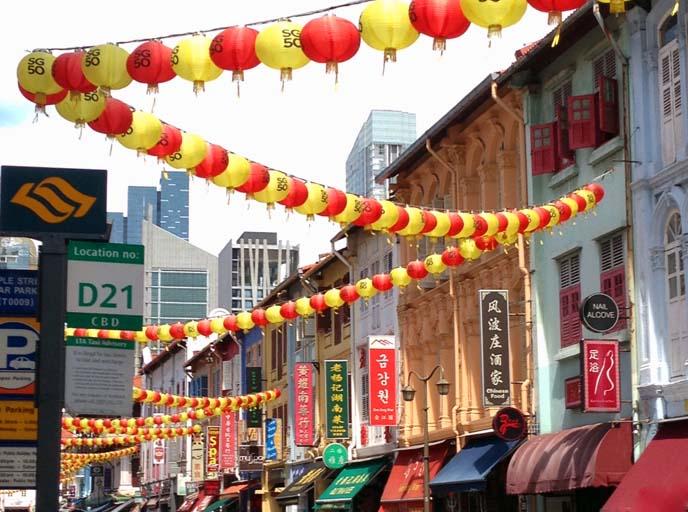 chinatown lanterns singapore streets