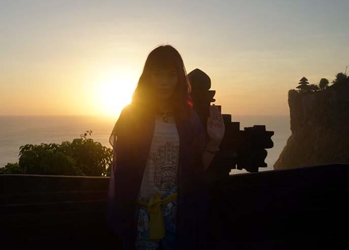 bali sunset, famous temple