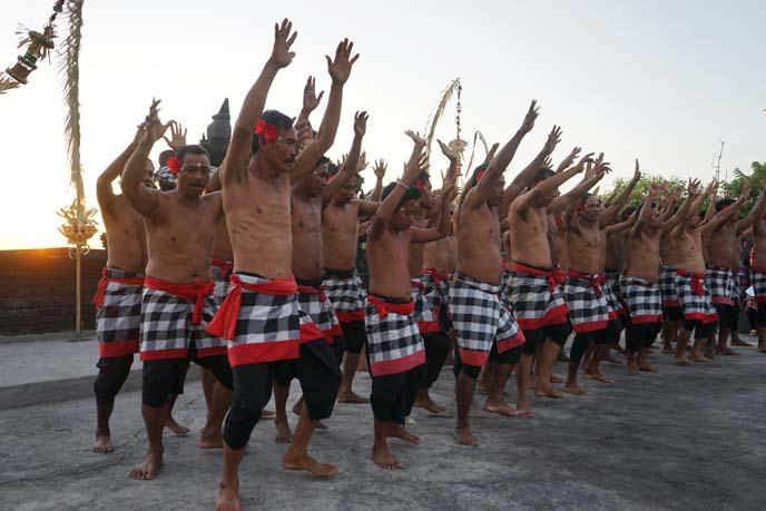 kecek dancers, bali fire dancing