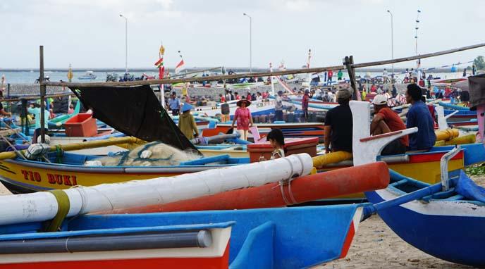 jimbaran bali colorful fish boats