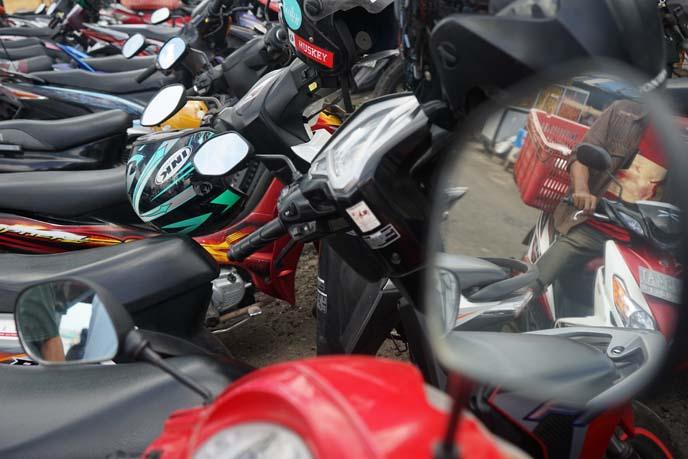 row of motorcycles, bali