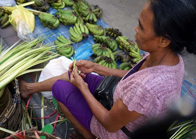 balinese banten, food flower offering