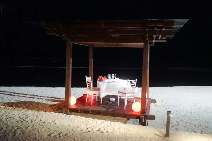 bali romantic dining on beach
