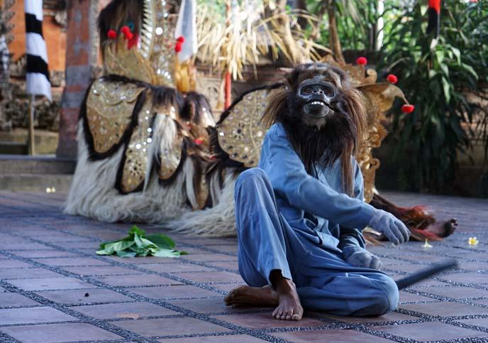 barong monkey mask, dancer