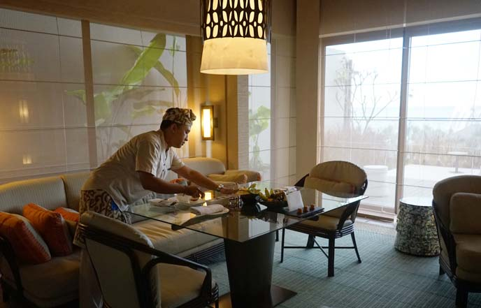 romantic in room dining, indonesia