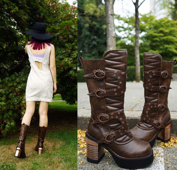 steampunk victorian brown boots