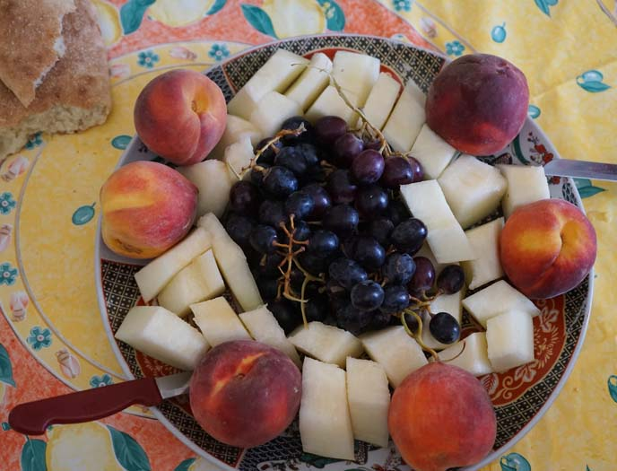 melon grapes peaches fruit plate