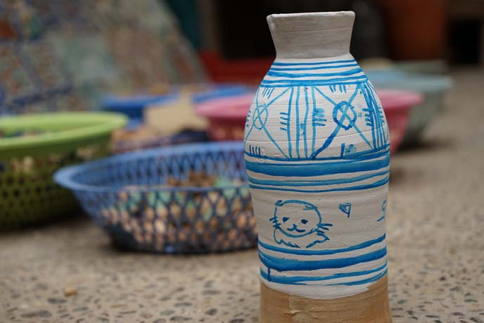 moroccan blue white painted ceramics