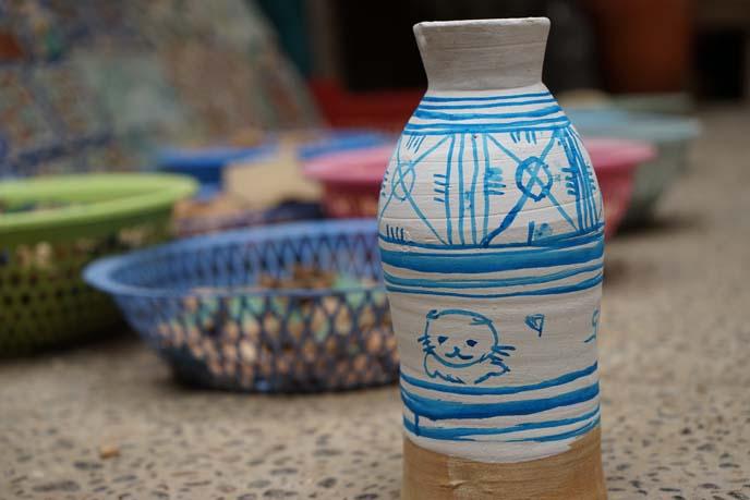 moroccan blue white painted ceramics