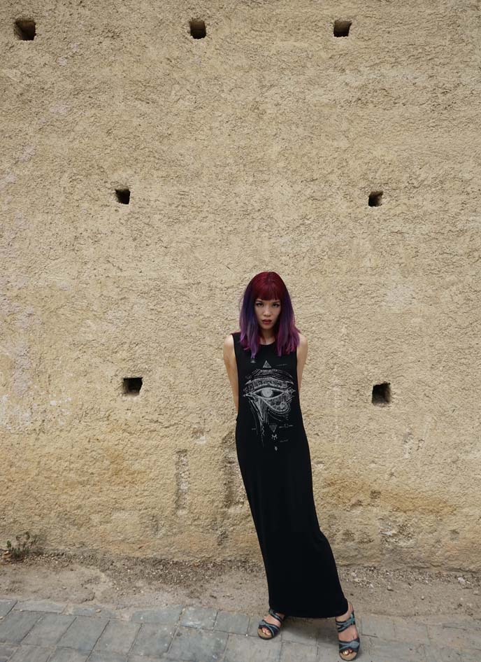 long black goth dress, egyptian eye