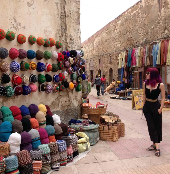 Essaouira street vendors, colorful moroccan market