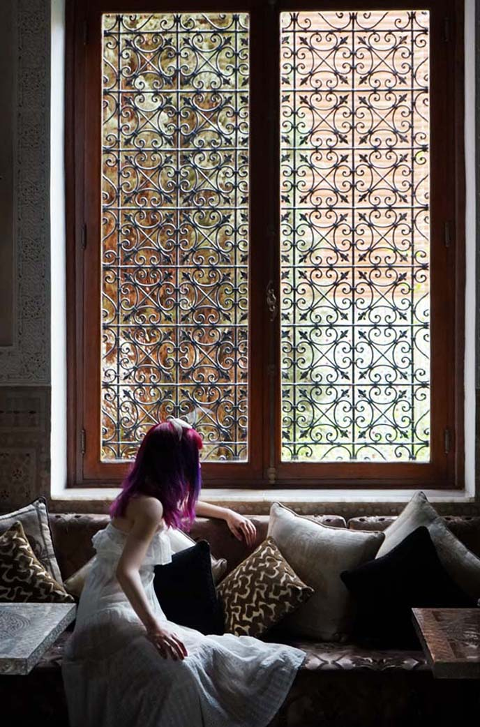 moroccan windows, female travel instagram