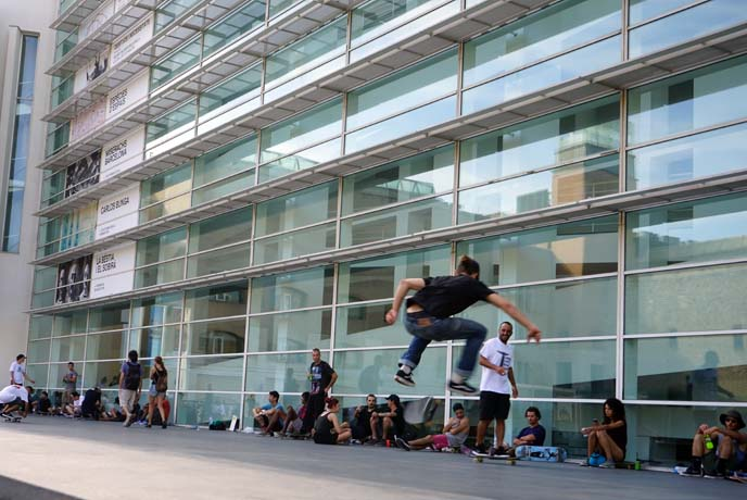 skaters, MACBA modern art museum