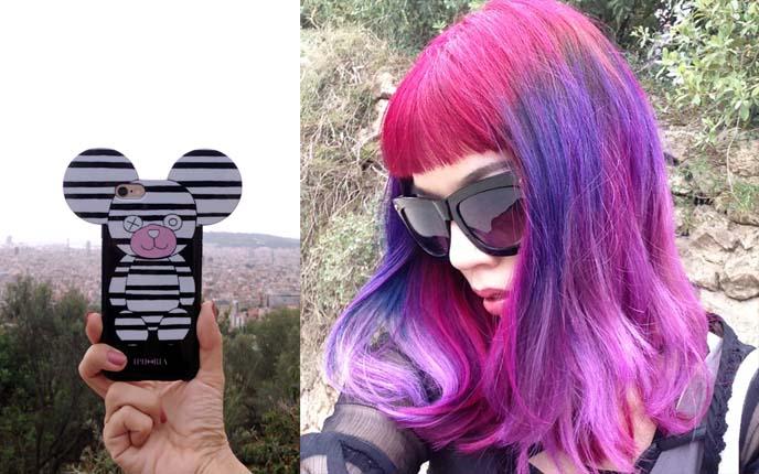 bright pink purple haircolor girl