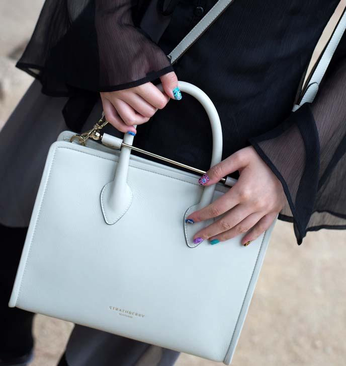 strathberry of scotland white leather minimal purse