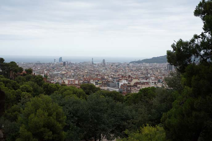 view of barcelona from park