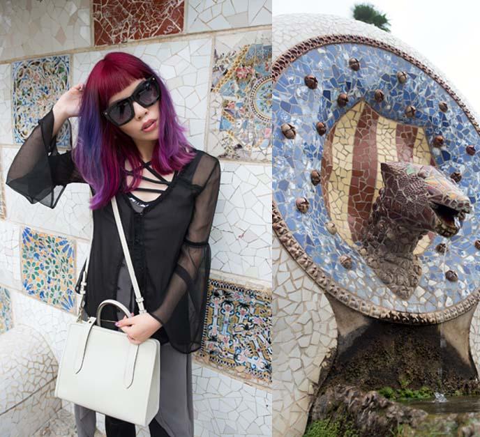 gaudi mosaics, park guell tiles