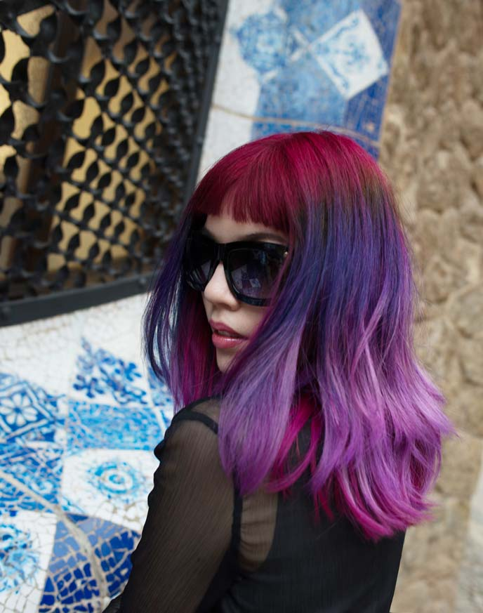 lavender purple hair color, dyed hairstyle