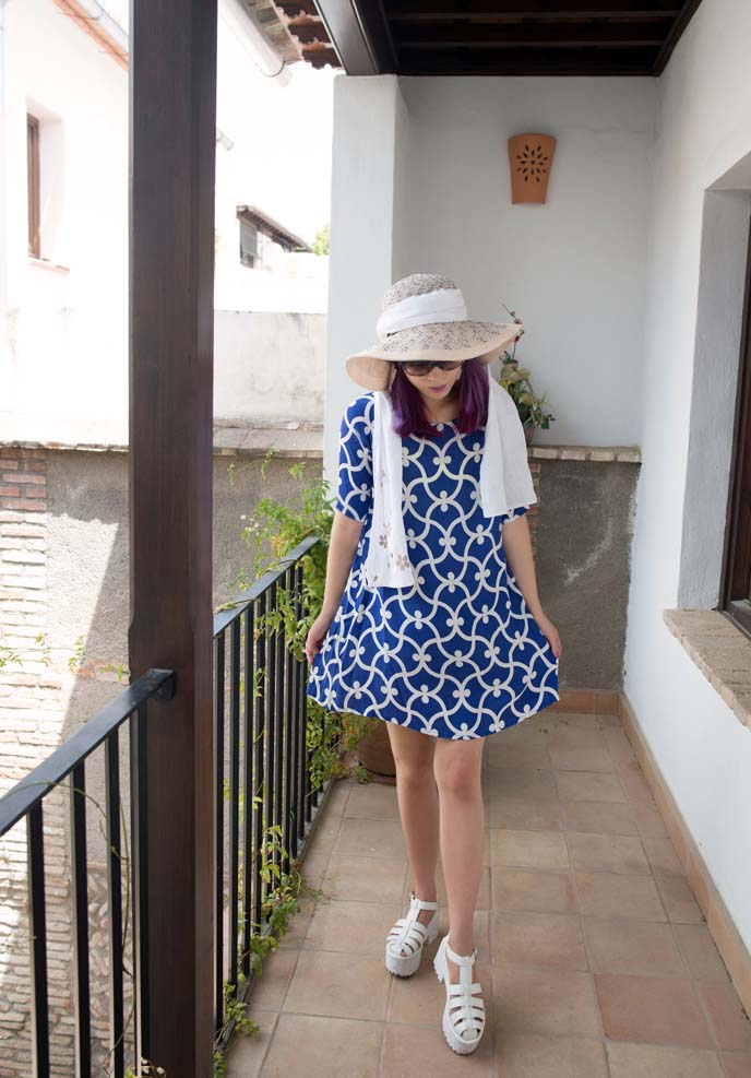 screen printed shift dress, blue white