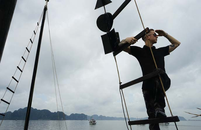 climbing boat mast