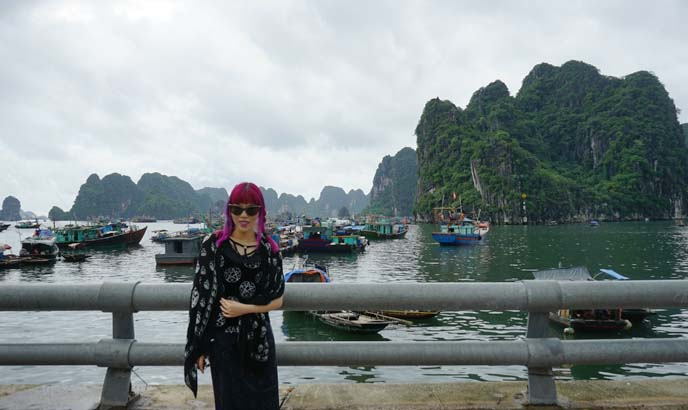 halong bay mountain backdrop, scenery