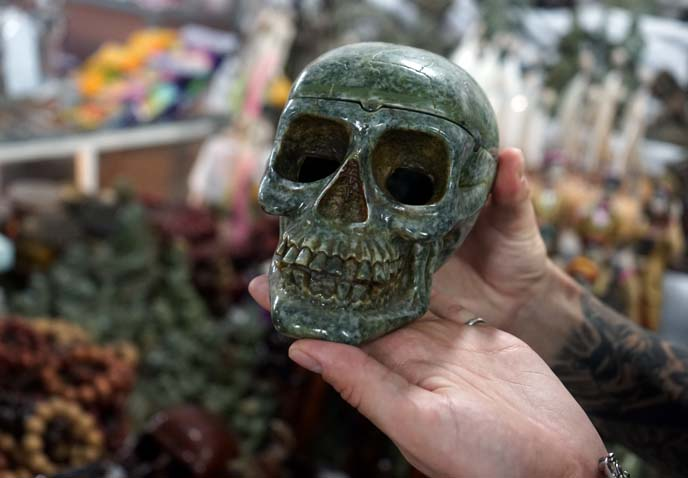 green skull ashtray