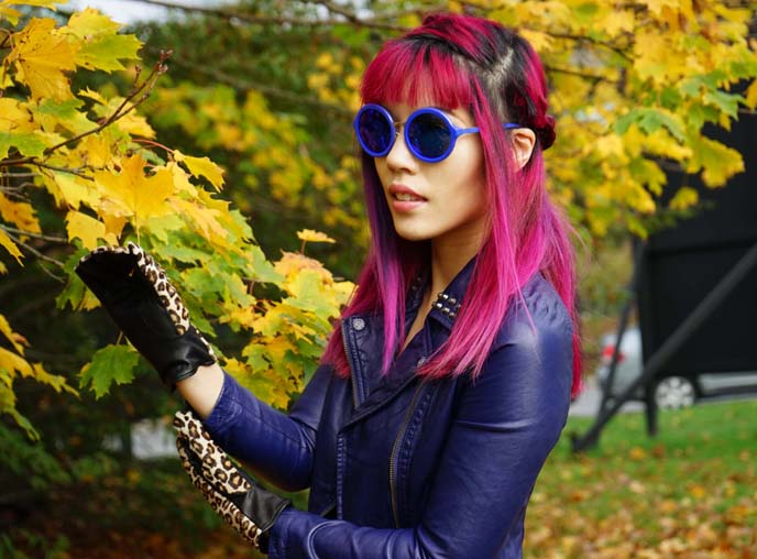 magenta hair color, round hippie linda farrow sunglasses