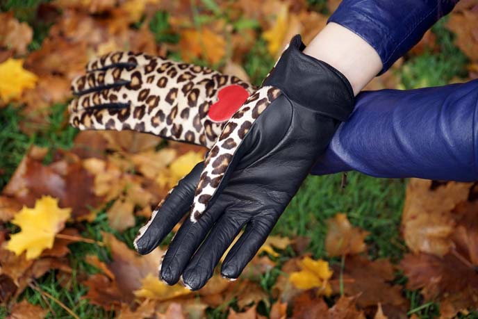 leather leopard print designer gloves