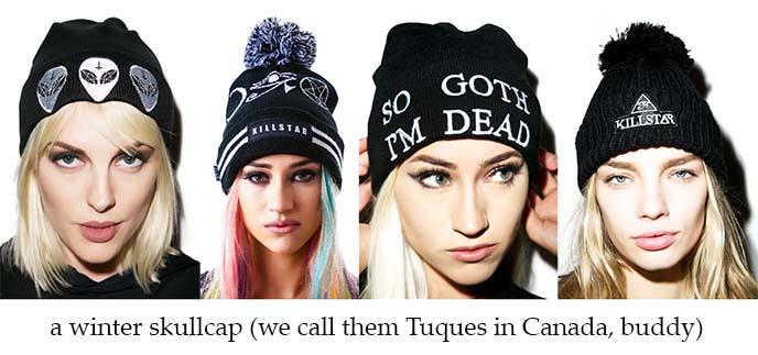 goth beanie, skullcap, gothic tuque