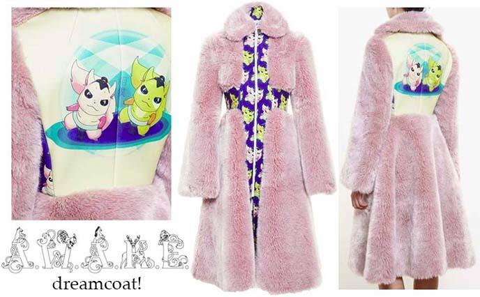 awake anime pink faux fur coat