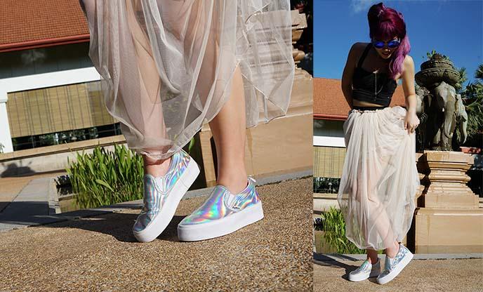 metallic shiny creeper sneakers