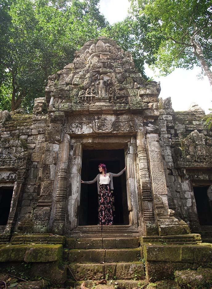 cambodia temple doors ruins