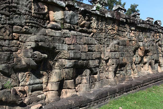 elephant wall carving cambodia