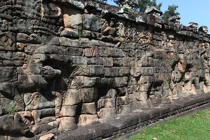 elephant wall carving cambodia