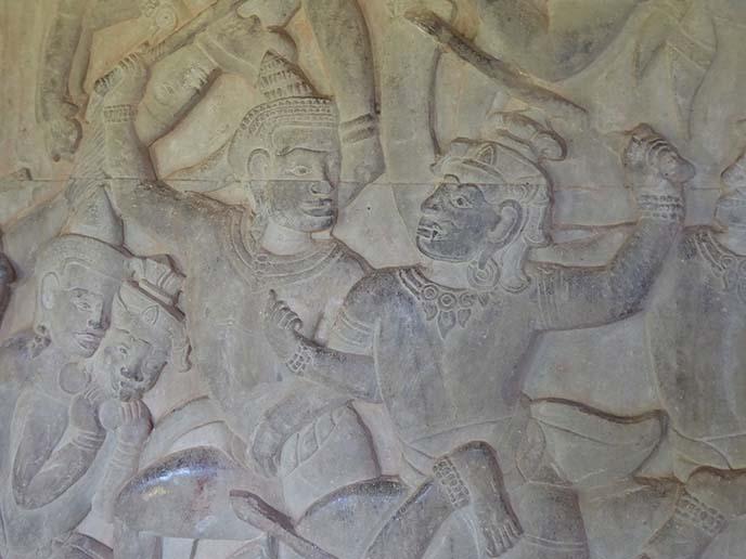 ramayana bas relief, cambodia art