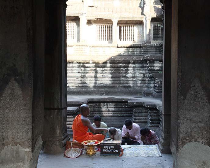 buddhist monk blessings, cambodia angkor