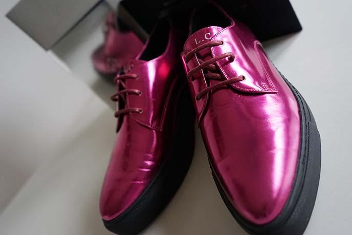 metallic fuchsia red purple shoes