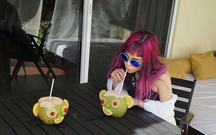 tropical rum coconut drink