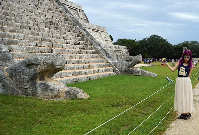 carved serpent heads, chichen itza