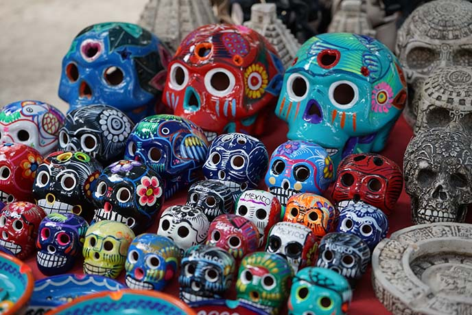colorful day of dead skulls