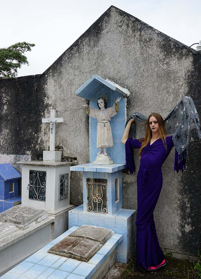 goth in cemetery