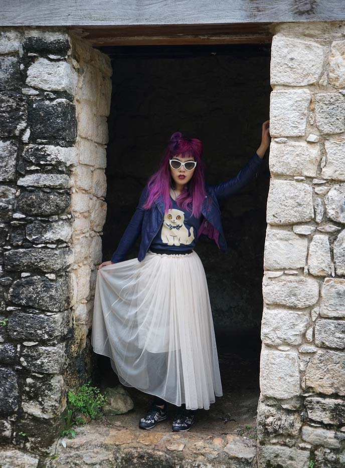 purple hair asian girl fashion