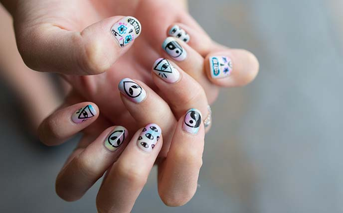occult witch nail art, nails