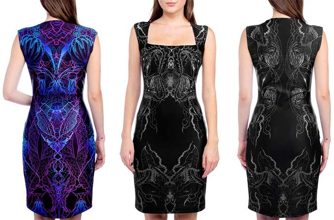 tentacle aliens bodycon dress