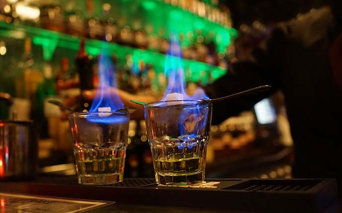 absinthe on fire, blue flames