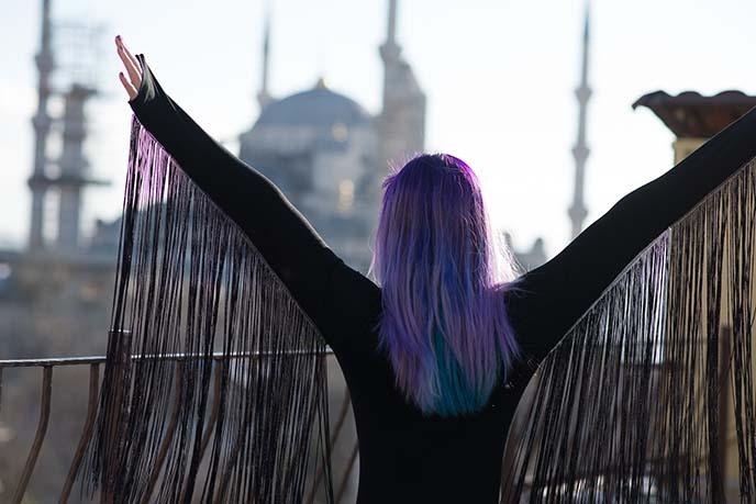 purple blue pastel haircolor