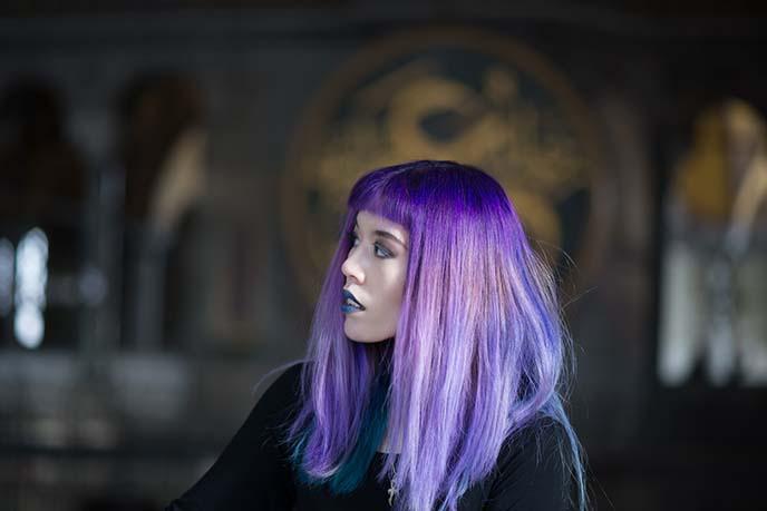 woman lavender hair color